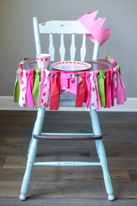 Strawberry Picnic 1st Birthday High Chair Banner Bundle