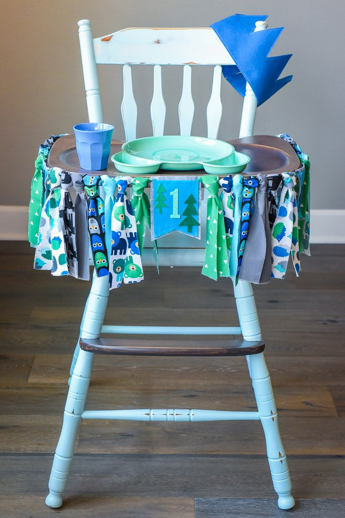 Woodland 1st Birthday High Chair Banner Bundle in Blue and Green