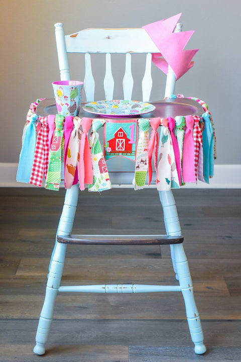 Little Farmer 1st Birthday High Chair Banner Bundle in Pink