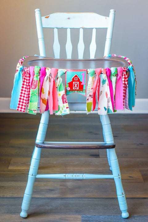 Little Farmer High Chair Banner in Pink Handmade by Sugar Moon Bloom