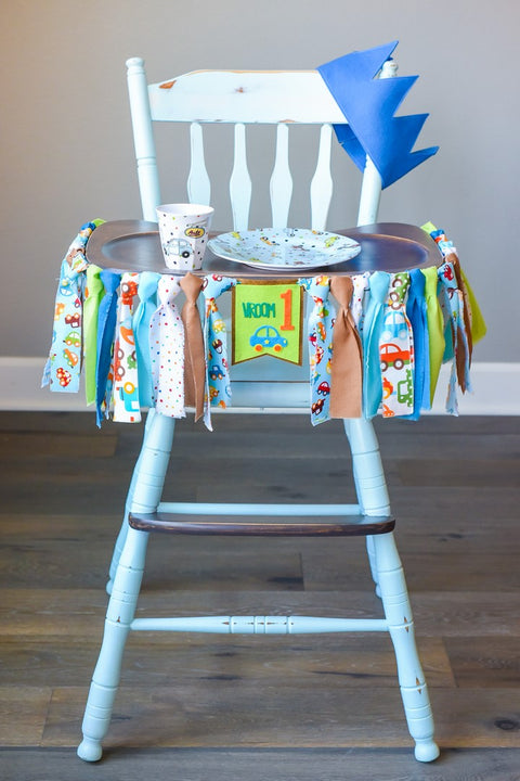 Car 1st Birthday High Chair Banner Bundle