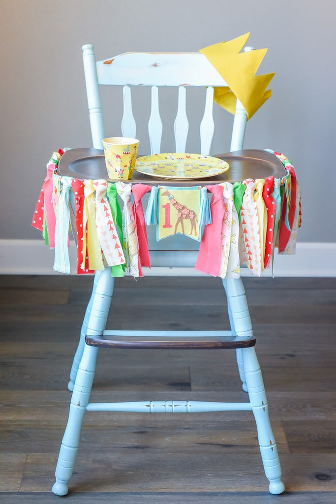 Circus 1st Birthday High Chair Banner Bundle in Yellow