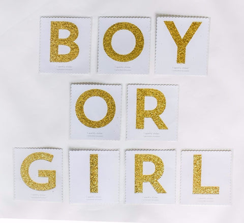 "Gold Glitter Sticker Pack That Spells ""BOY OR GIRL"""