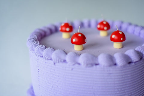Mini mushroom birthday candles