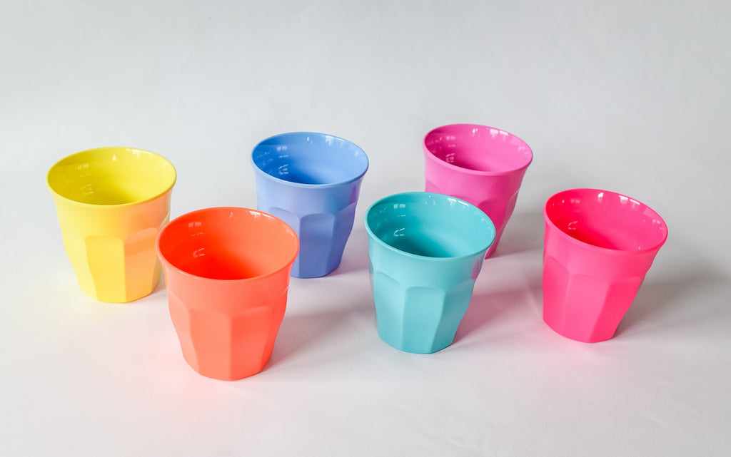 Toddler Small Melamine Cup in Assorted Neon Pretty Colors