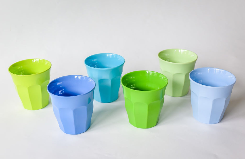 Small Melamine Cups in Blue & Green (6-pack)
