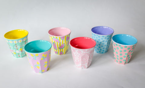 Small Melamine Cups in Pretty Prints (6-pack)
