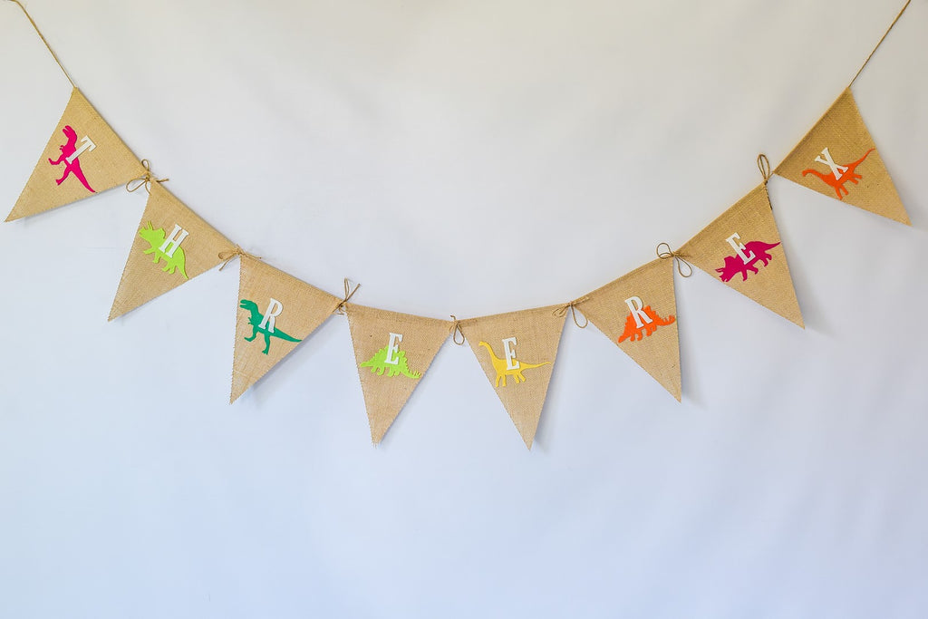 Burlap + Felt T-Rex Dinosaur Banner Handmade by Sugar Moon Bloom