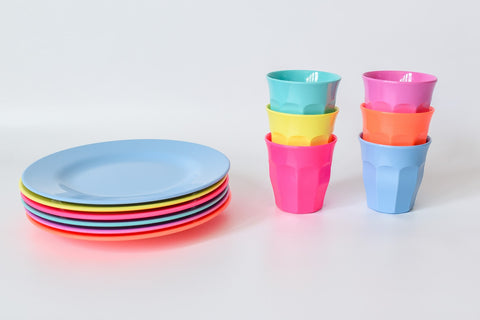 Neon Place Setting Sets (6-pack of cups and 6-pack of plates)