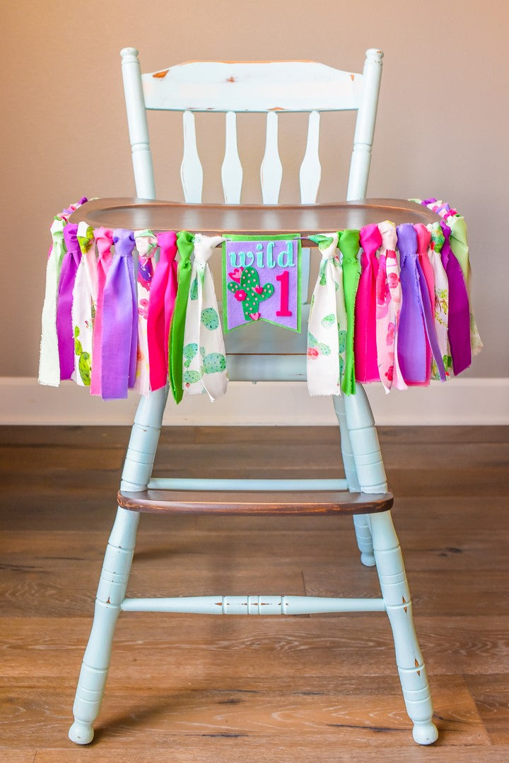 Cactus High Chair Banner Handmade by Sugar Moon Bloom