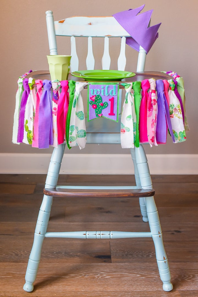 Cactus 1st Birthday High Chair Banner Bundle