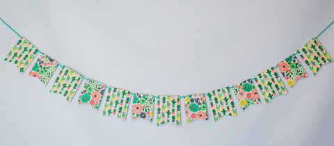 Cactus and Blooms Banner Handmade by Sugar Moon Bloom