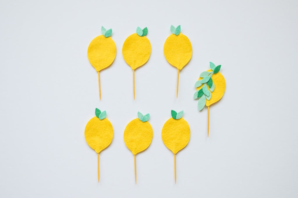 Lemon Party Cupcake Toppers Handmade by Sugar Moon Bloom