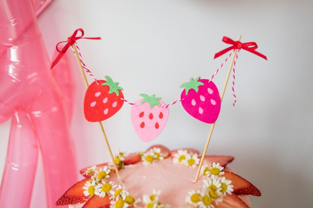 Strawberry Felt Cake Banner Handmade by Sugar Moon Bloom