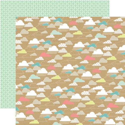 Party Paper Placemat in Kraft Cloud Print