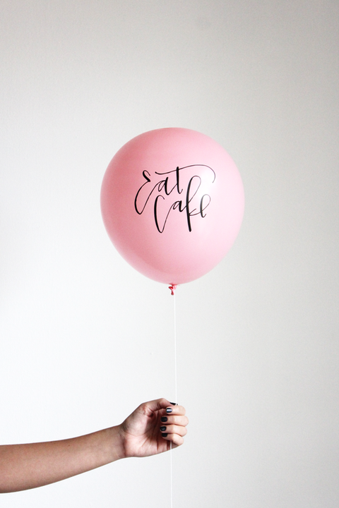 "Calligraphy ""Eat Cake"" Balloons in Blush Pink (3-pack)"