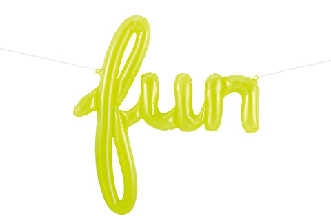 "Script Balloon Spells ""Fun"" in Clear Lime Green"