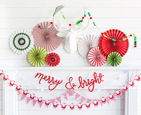Holiday Party Fans in Classic Christmas (8-pack)