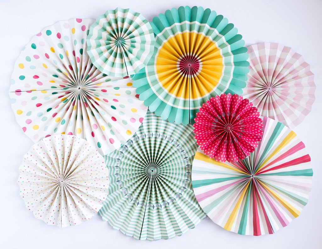 Party Fans in Fun Colors & Prints (8-pack)