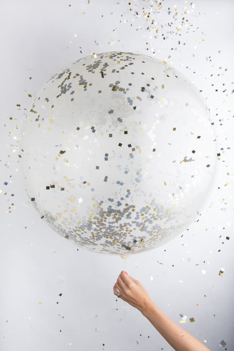 "36"" Jumbo Confetti Balloon in Metallic"