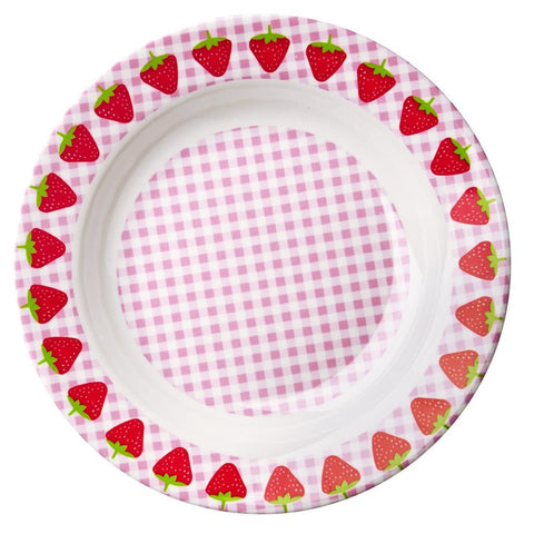 Melamine Bowl in Gingham & Strawberry Print