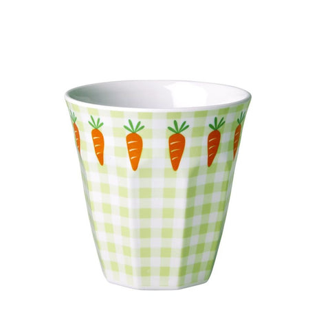 Toddler Small Melamine Cup in Gingham & Carrot Print
