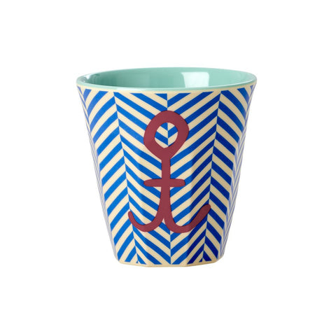 Toddler Small Melamine Cup in Two Tone Stripe Anchor Print