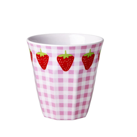 Toddler Small Melamine Cup in Gingham & Strawberry Print
