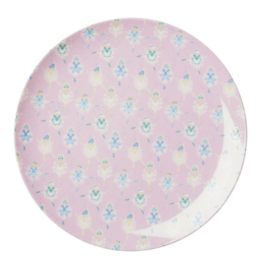 Toddler Small Round Melamine Plate in Ballet Dancer Print
