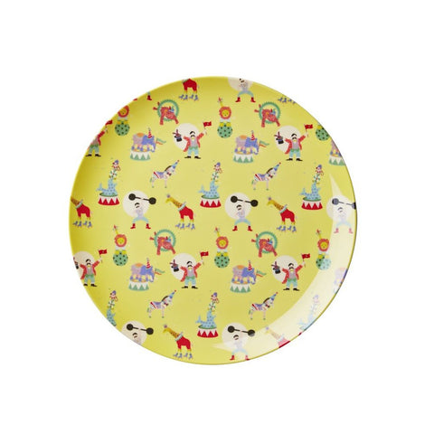 Toddler Small Round Melamine Plate in Yellow Circus Print
