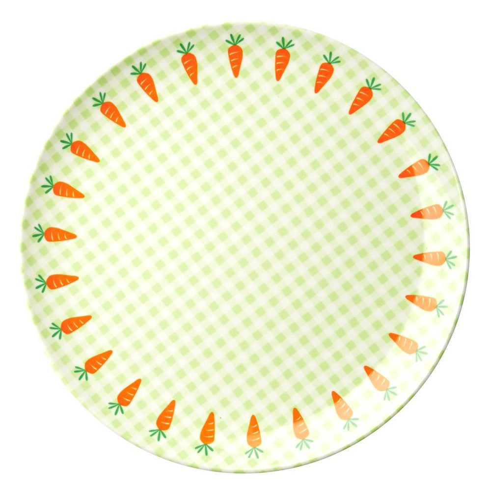 Toddler Small Round Melamine Plate in Gingham & Carrot Print