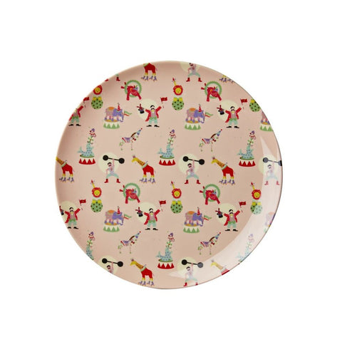 Toddler Small Round Melamine Plate in Pink Circus Print