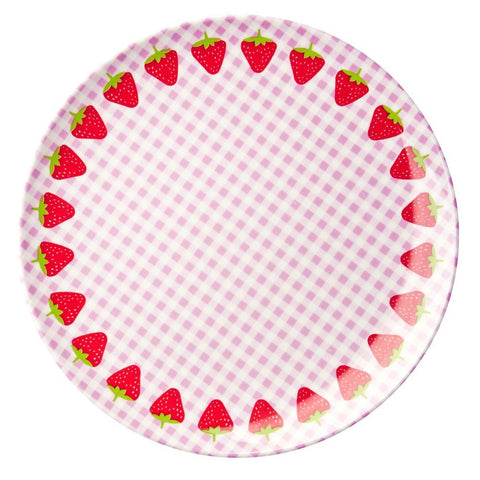 Toddler Small Round Melamine Plate in Gingham & Strawberry Print