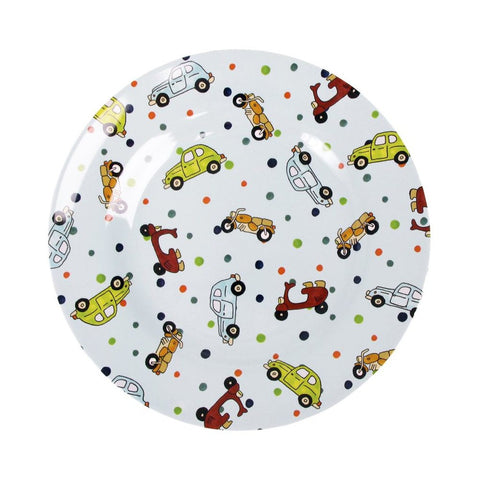 Toddler Small Round Melamine Plate in Car Print