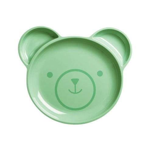 Toddler Divided Bear Melamine Plate in Pastel Green