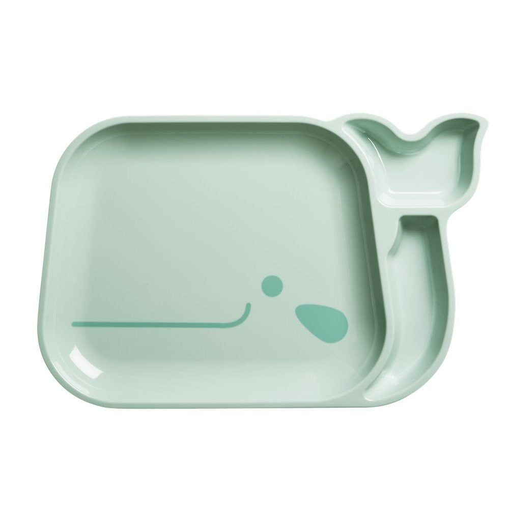 Toddler Divided Whale Melamine Plate in Blue