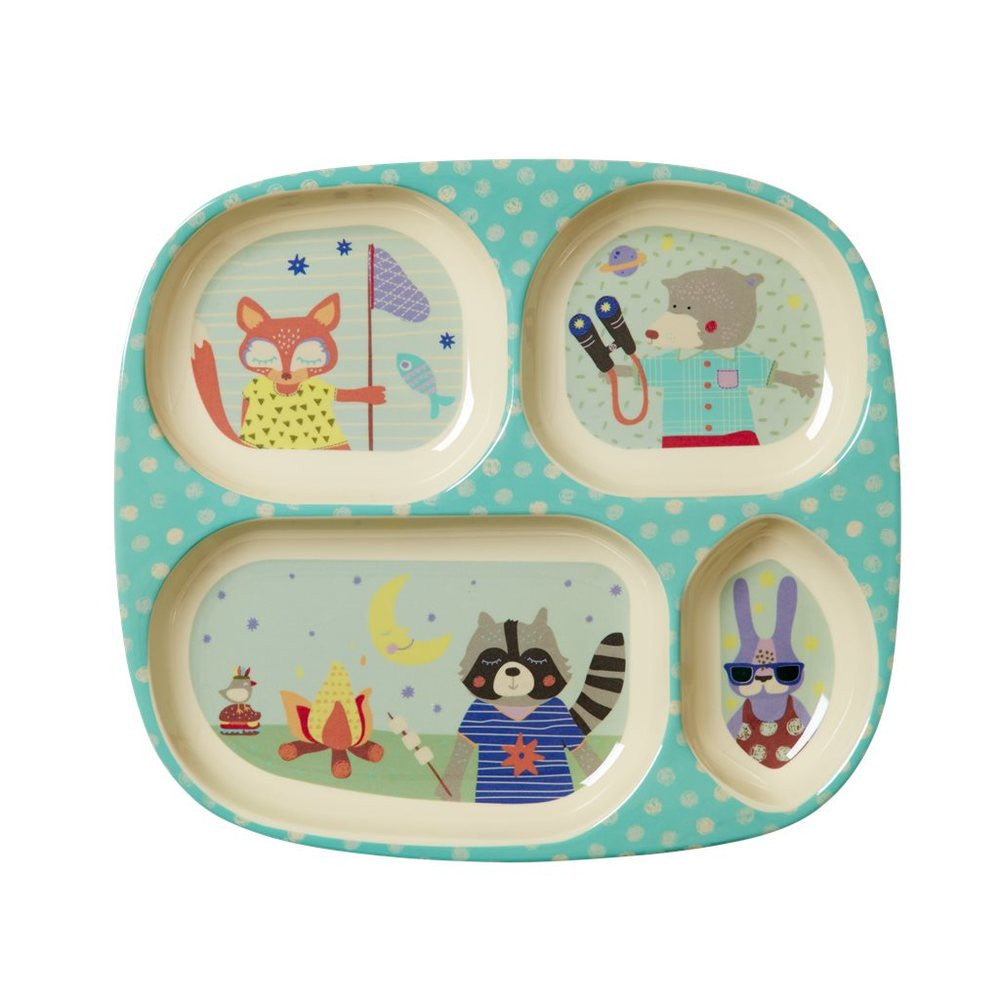 Toddler Divided Melamine Plate in Happy Camper Print