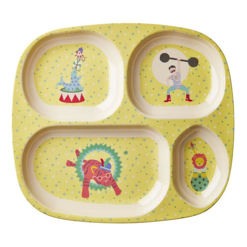 Toddler Divided Melamine Plate in Yellow Circus Print