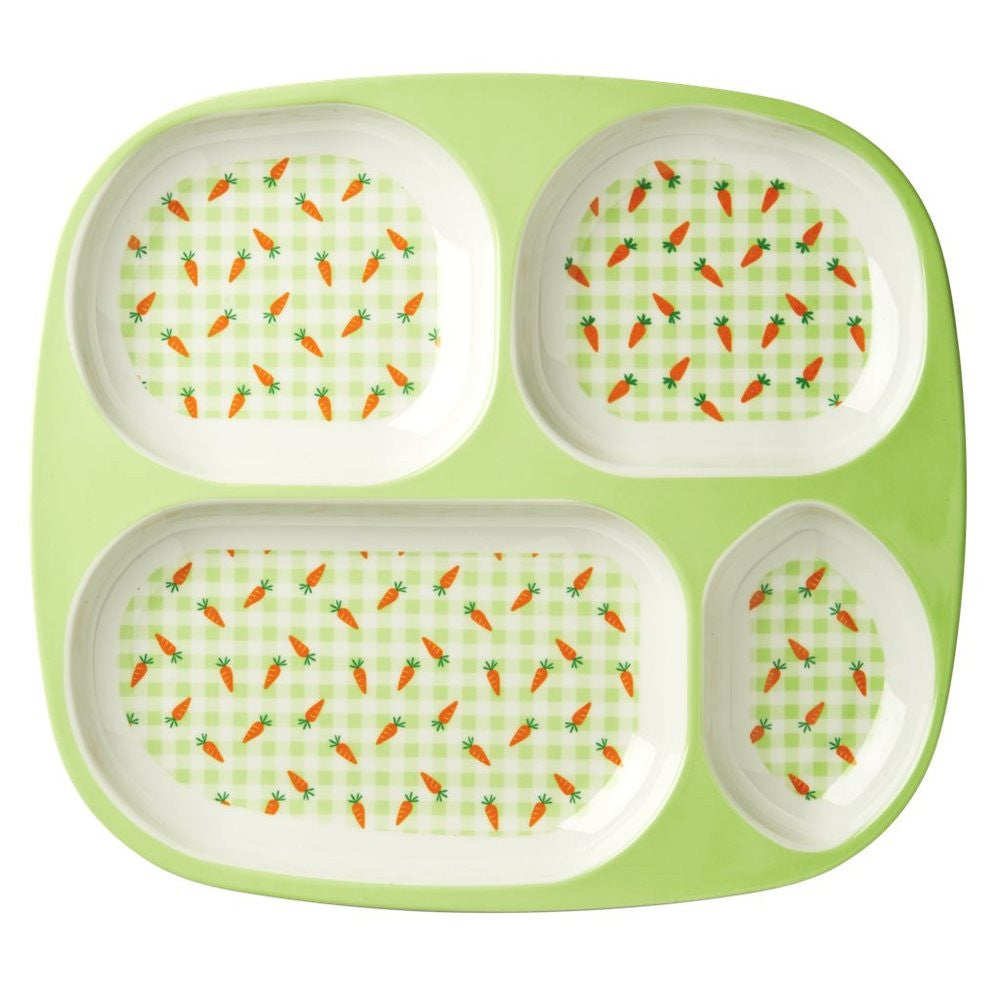 Toddler Divided Melamine Plate in Gingham & Carrot Print