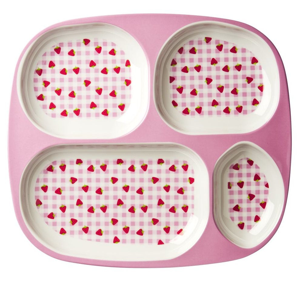Toddler Divided Melamine Plate in Gingham & Strawberry Print