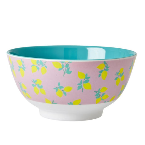 Melamine Bowl in Two Tone Lemon Print
