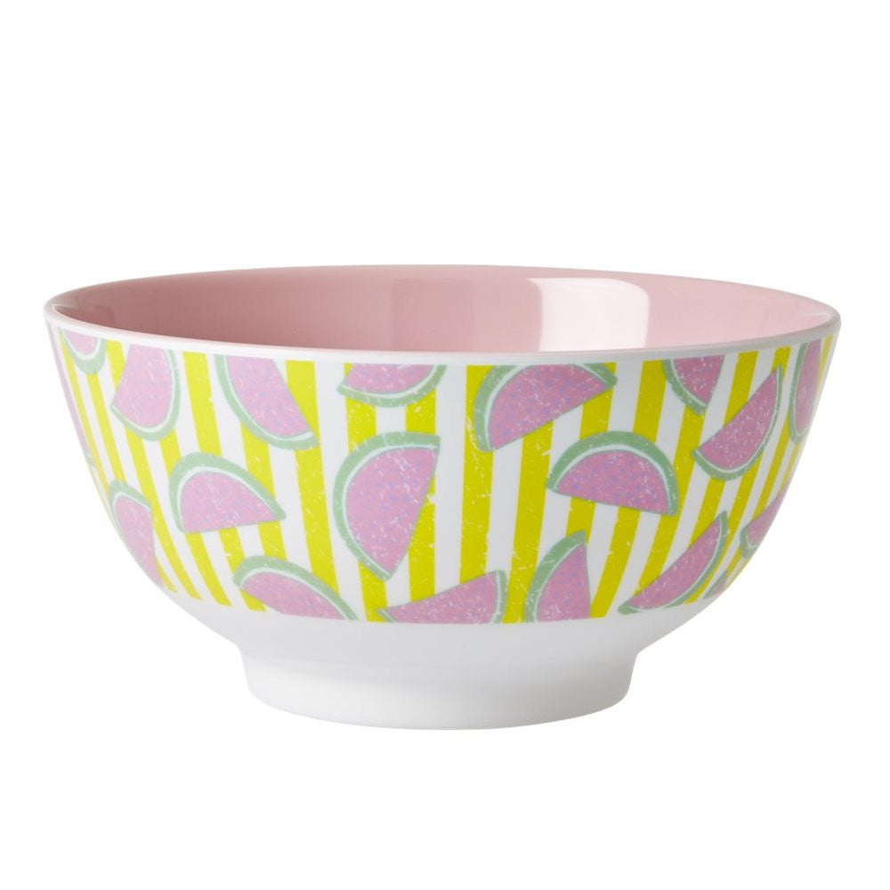 Melamine Bowl in Two Tone in Watermelon Print