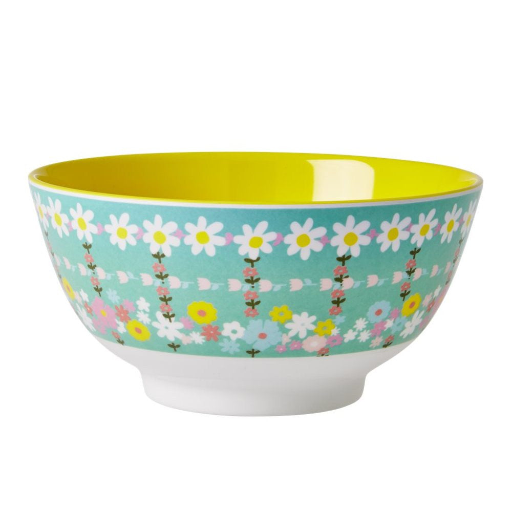 Melamine Bowl in Two Tone Retro Flower Print
