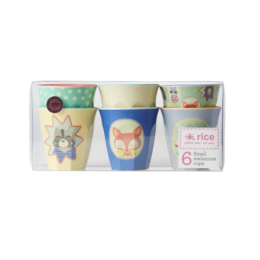 Small Melamine Cups in Happy Camper Prints (6-pack)