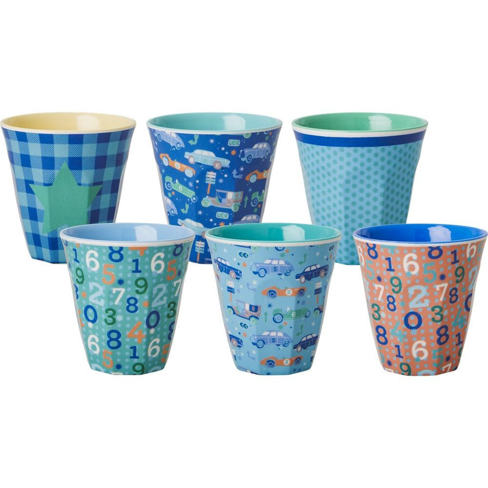 Small Melamine Cups in Bold Boy Prints (6-pack)