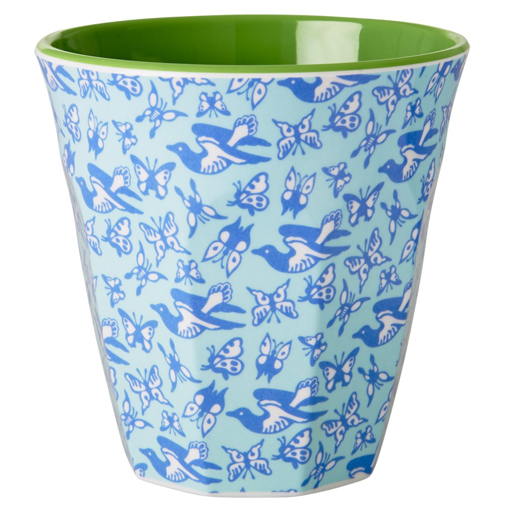 Medium Melamine Cup in Two Tone in Birds and Butterflies Print