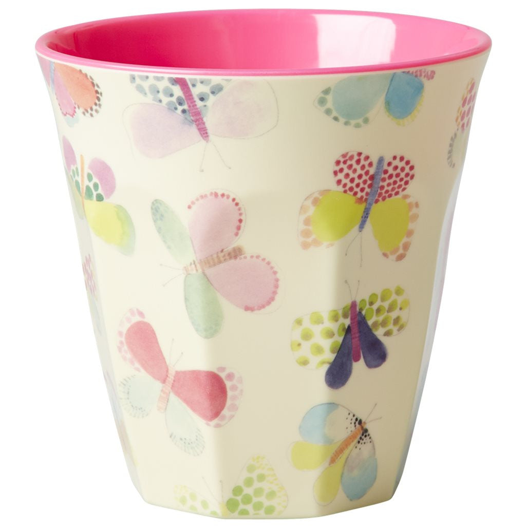 Medium Melamine Cup in Two Tone Butterfly Print