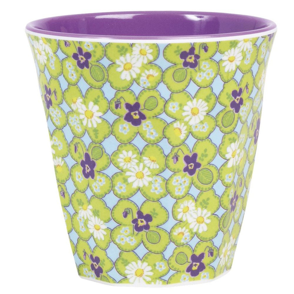 Medium Melamine Cup in Two Tone Clover Print
