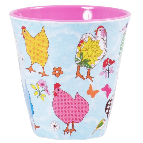 Medium Melamine Cup in Two Tone Hen Print in Assorted Colors