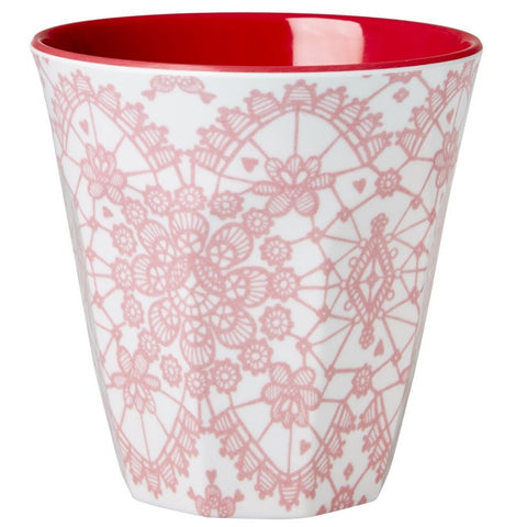 Medium Melamine Cup in Two Tone Lace Print